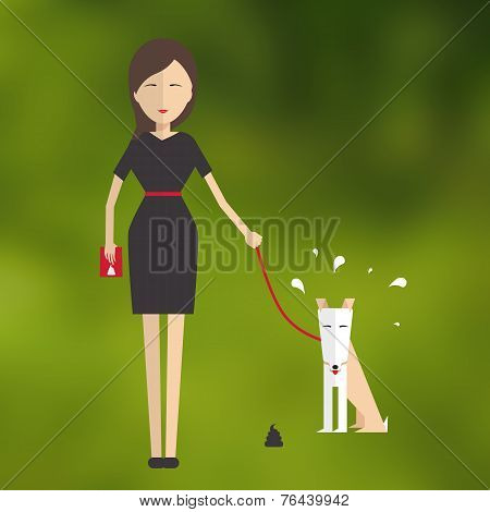 Young Woman Walking A Dog.