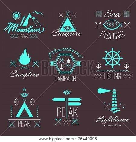 Set Of Icons On A Hike In The Mystical Retro Style