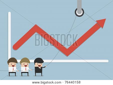 Businessmen Find The Way To Increase Business Profits, Teamwork Concept, Business Concept