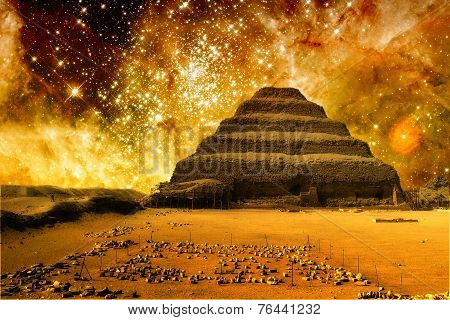 Step Pyramid And The Tarantula Nebula (elements Of This Image Fu