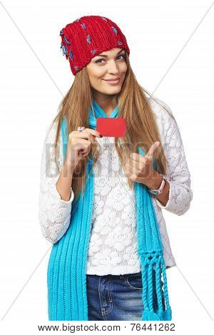 Winter woman with blank credit card