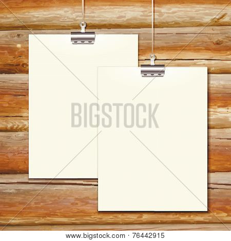 Vector template of a paper sheet -poster, picture frame- on wooden background
