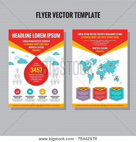 Abstract flyer vector template. Brochure vector template. Design elements. Vector world map included