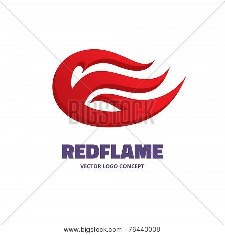 Red flame - vector logo concept illustration. Fire logo. Red flame vector icon. Design element.