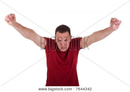 Portrait Of A Happy  Man With His Arms Raised