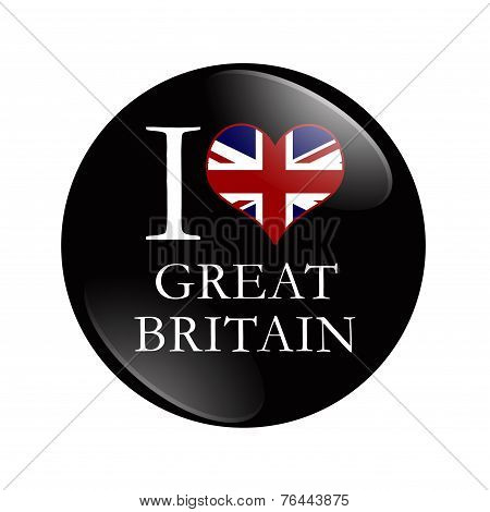 I Love Great Britain Button