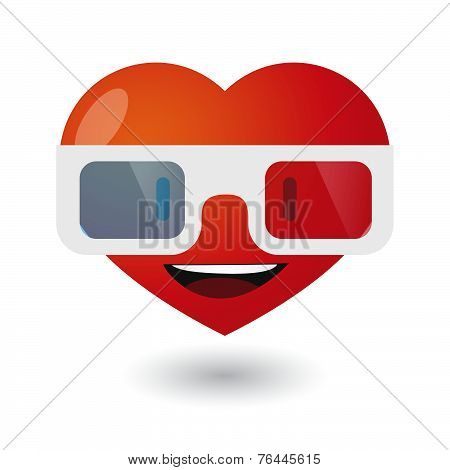 Cute Heart Avatar Wearing Glasses