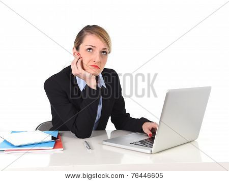 Young Bored Businesswoman Working In Stress At Office Computer Frustrated