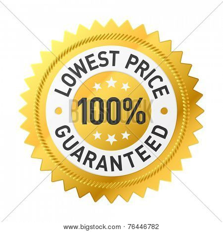 100% lowest price guaranteed sticker. Vector.