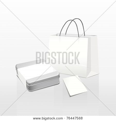 White Paper Bag And Metal Box