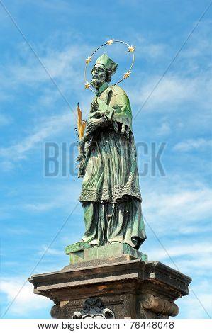 St. John Of Nepomuk Statue On Charles Bridge Of Prague