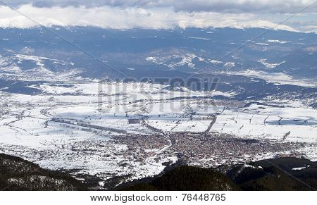Mountain Town During The Winter
