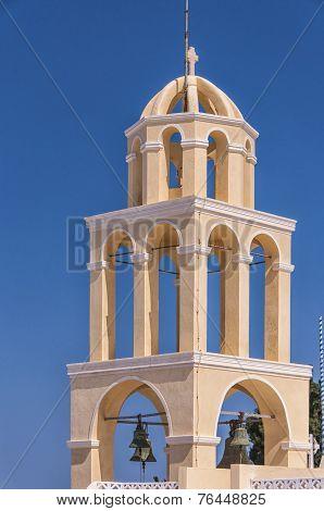 Santorini Oia Church Peach Bell Tower
