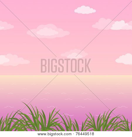Sea landscape, seamless, grass and sky