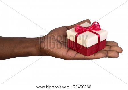 Man holding a gift box in hand isolated on white background