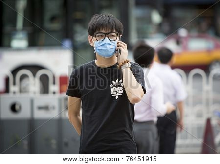 Young Man Wearing Mask
