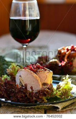 Salad With Marinated Mushrooms, Cowberry And Meat
