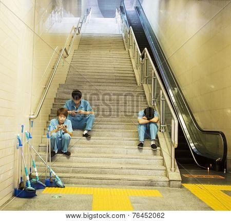 Cleaners Taking A Break
