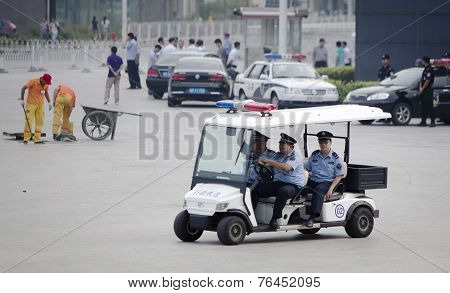 Three Police Officers Patrolling
