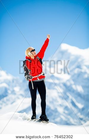 Woman Climber Talking On Phone Mountains Success