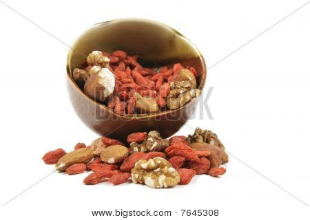 Goji Berries And Nuts In A Bowl