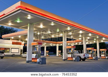 Black and White Retail Gasoline Station With Convenience Store