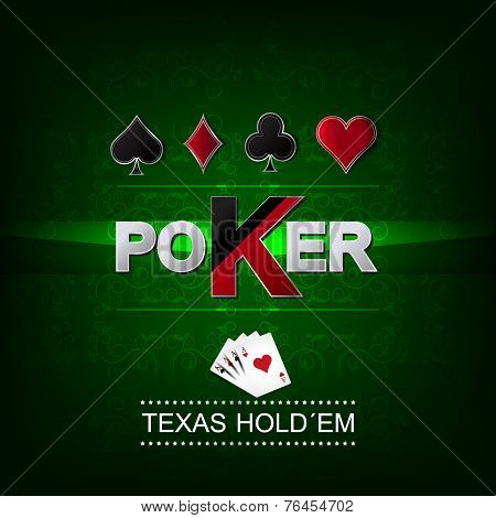 Poker vector background with flower pattern and card symbol