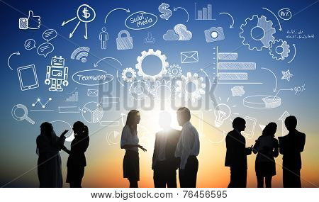 Business People Teamwork Social Media Finance Concept