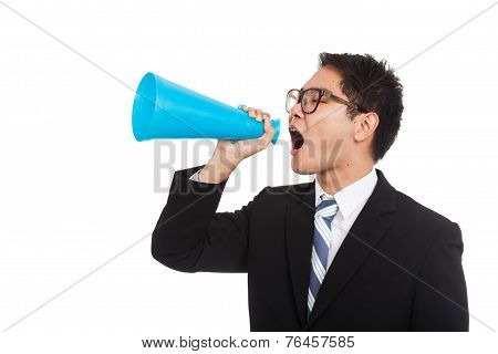 Asian Businessman Yell With Megaphone