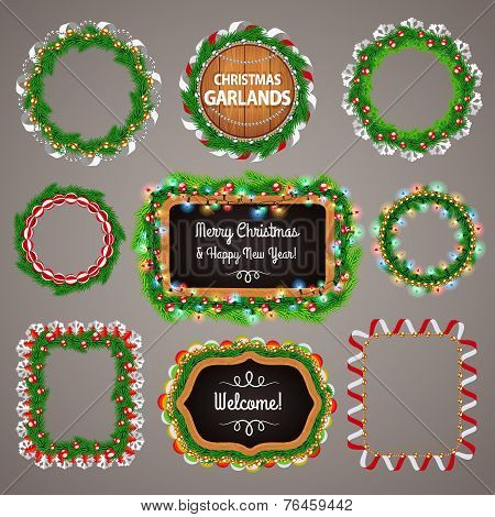 Christmas Garlands Frames and Blackboard with a Copy Space Set