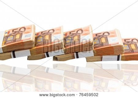 stack of many fifty euro banknotes. photo icon for money, wealth, income and expenditure
