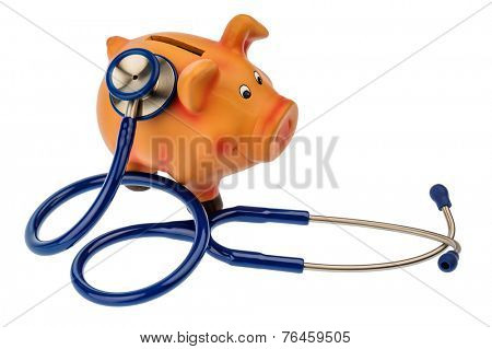 a piggy bank and a stethoscope. photo icon for save in the doctor's office and safe investment