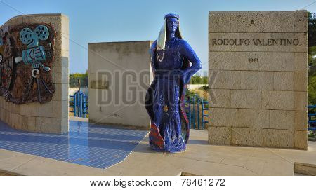 Monument to Rudolph Valentino built in his hometown of Castellaneta Taranto Italy