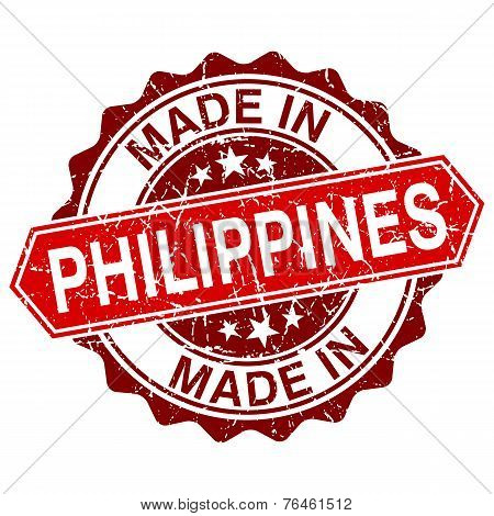 Made In Philippines Red Stamp Isolated On White Background