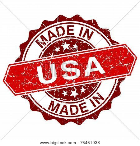 Made In Usa Red Stamp Isolated On White Background
