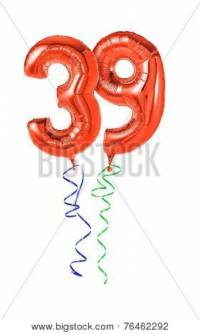 Red balloons with ribbon - Number 39