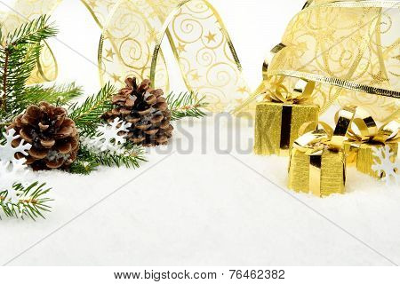 Gold Christmas Gifts,snowflakes With Gold Ribbon And Needles Fir