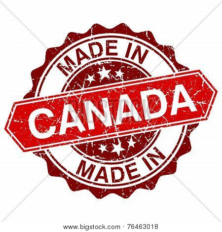 Made In Canada Red Stamp Isolated On White Background