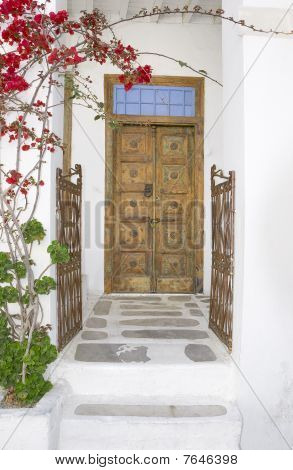 Old Doors And Gate With Blossoming Flowers