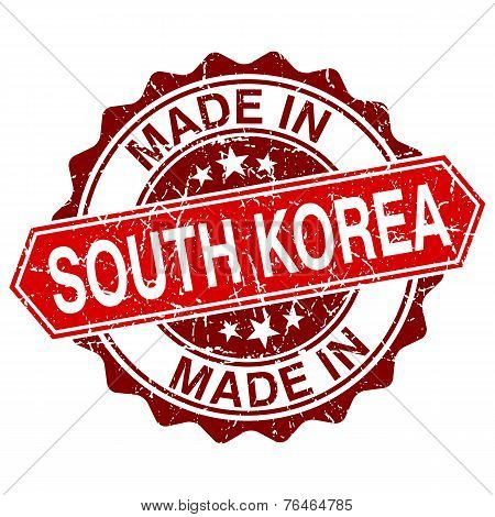 Made In South Korea Red Stamp Isolated On White Background