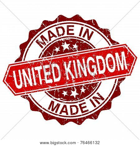 Made In United Kingdom Red Stamp Isolated On White Background