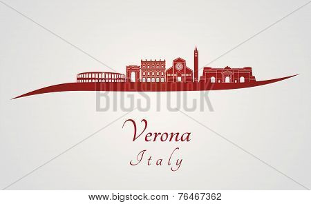 Verona Skyline In Red