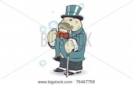 Walrus With Soap Bubbles