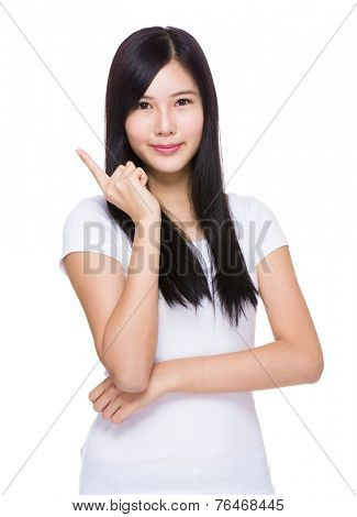 Asian Woman think of idea