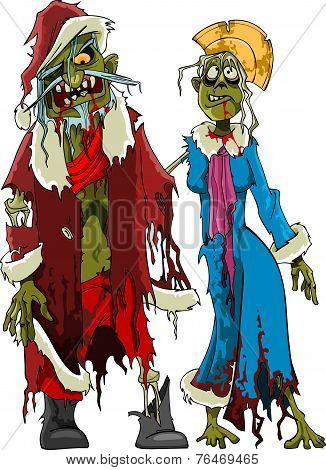 Cartoon Zombie Santa Claus And Snow Maiden Zombies In Tattered Clothes.