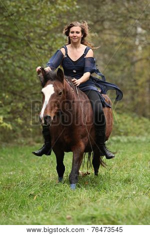 Amazing Girl With Horse Running Without Bridle And Saddle