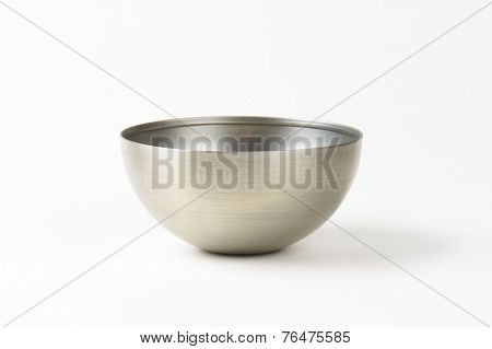 empty silver bowl on white background