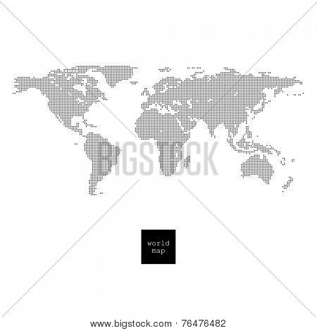 Pixelated world map isolated on white