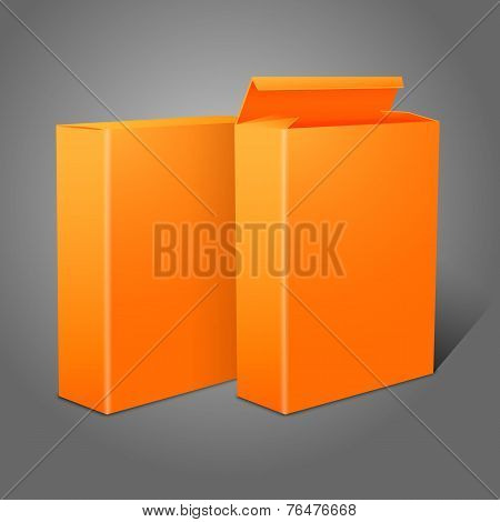 Two realistic bright orange blank paper packages for cornflakes, muesli, cereals etc.