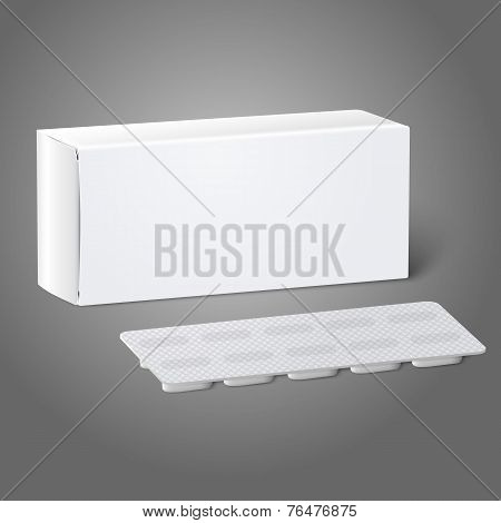 Realistic white blank paper medicine package box with Pills in a blister pack. Isolated on grey back